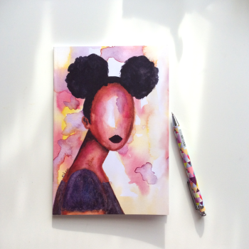 NOTEBOOK - 'Self Love' | Black Art Illustrated Notebook | Black Gifts