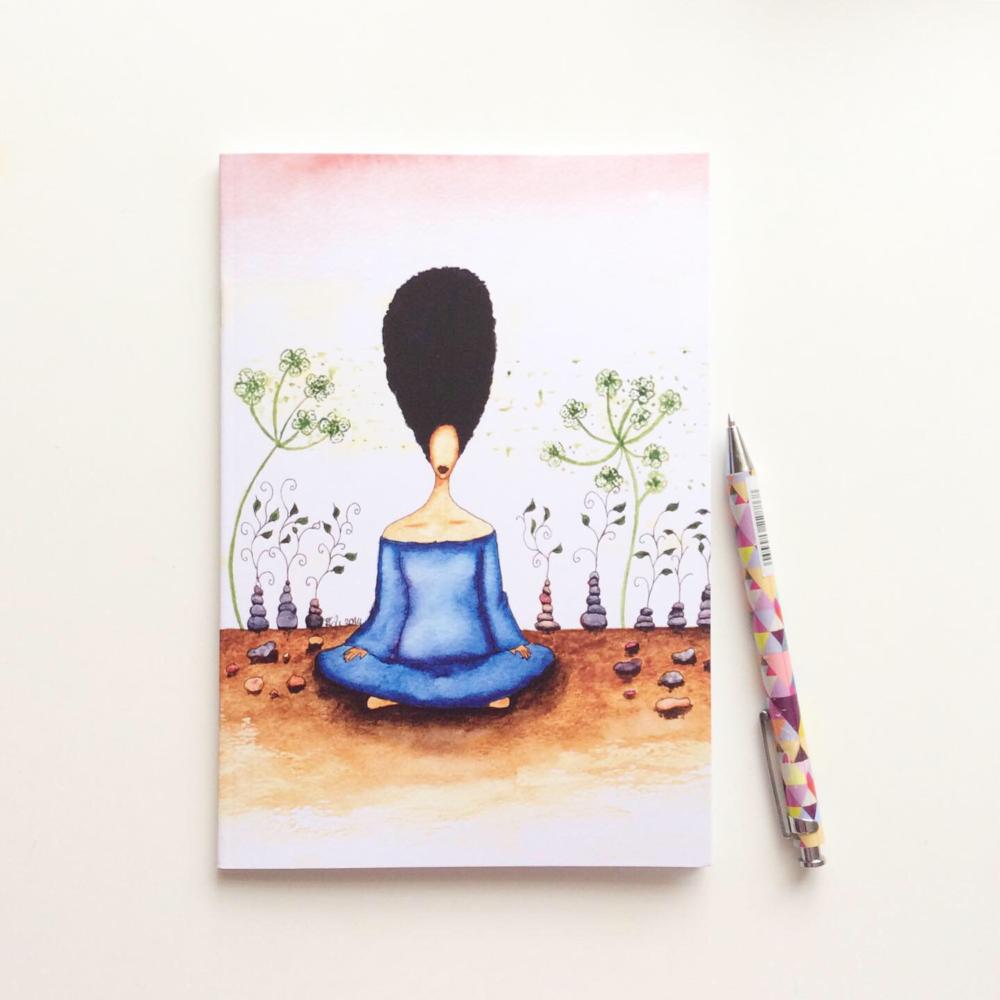 Black Woman Afrocentric Illustrated Notebook - 'Needing Stillness'