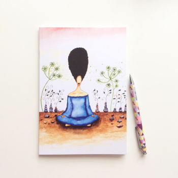 NOTEBOOK  - 'Needing Stillness' | Black Woman Afrocentric Illustrated Notebook
