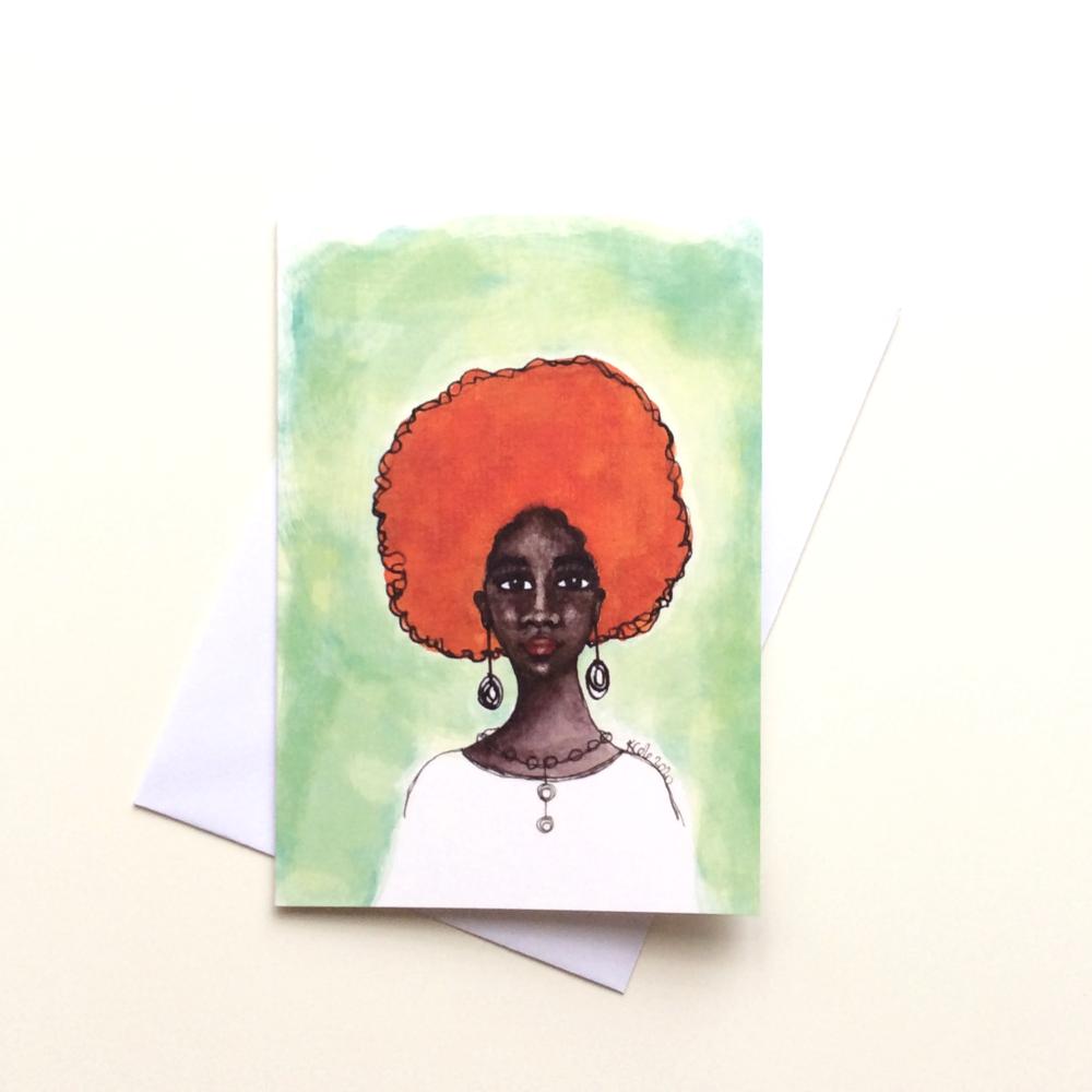 UK Black Greeting Card | Beautiful Dark Skin Black Woman  'Desta'