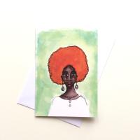 UK Black Greeting Card   Beautiful Dark Skin Black Woman  'Desta'
