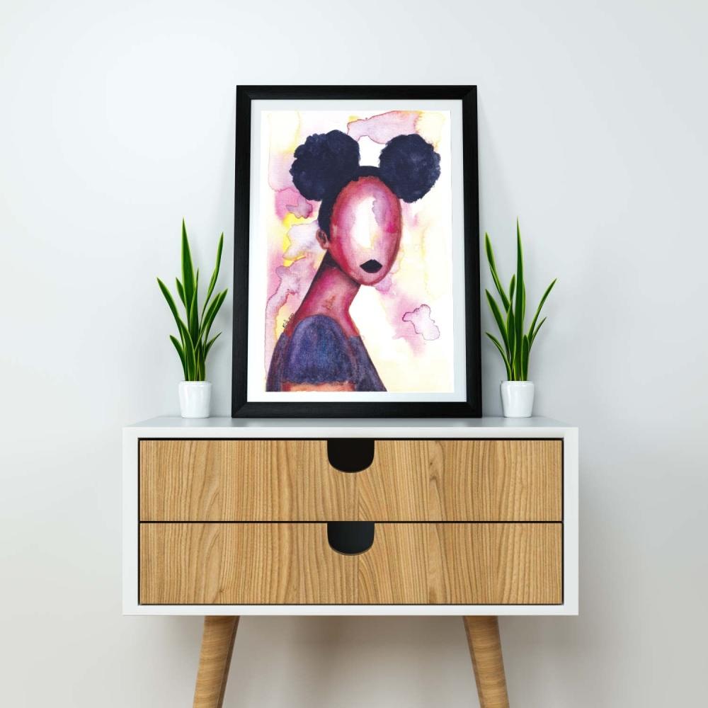 "Black Artwork | Wall Art Print 'Self Love' | A4 Size | Approx. 11.7"" x 8.3"" | Unframed"