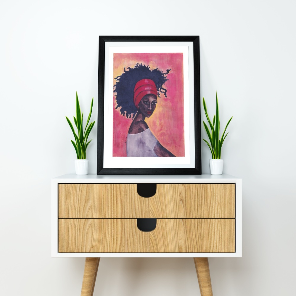 "Black Woman Art Print | 'Worthy' | A4 Size | Approx. 11.7"" x 8.3"" | Unframed"