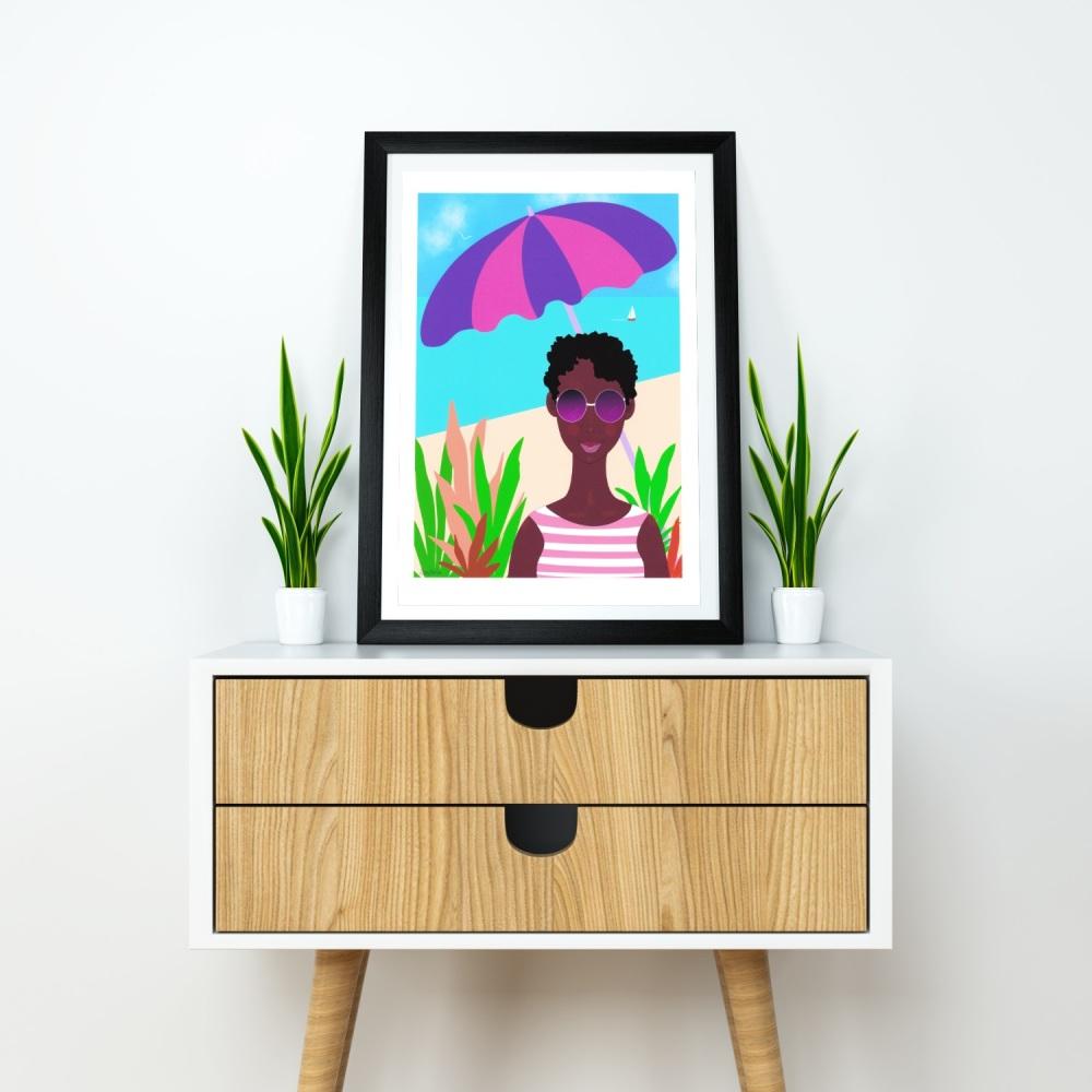 Black Art A4 Beach Print 'Beach Vacation', Unframed