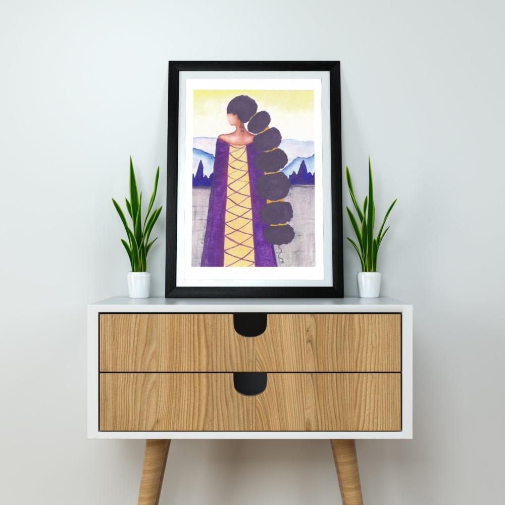 Black Art | Black Artist UK | Artwork Print | African American 'Queen', A4 Size, Unframed