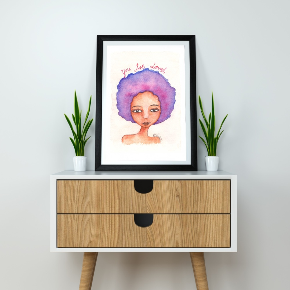 Black Artwork Print | Wall Art | 'You Are Loved', A4 Size, Unframed