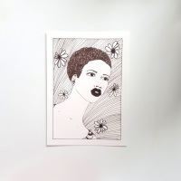 Black Wall Art and Home Decor | Portrait Artwork | Original Ink Afrocentric Drawing - '70s Vibe' Approx. 7
