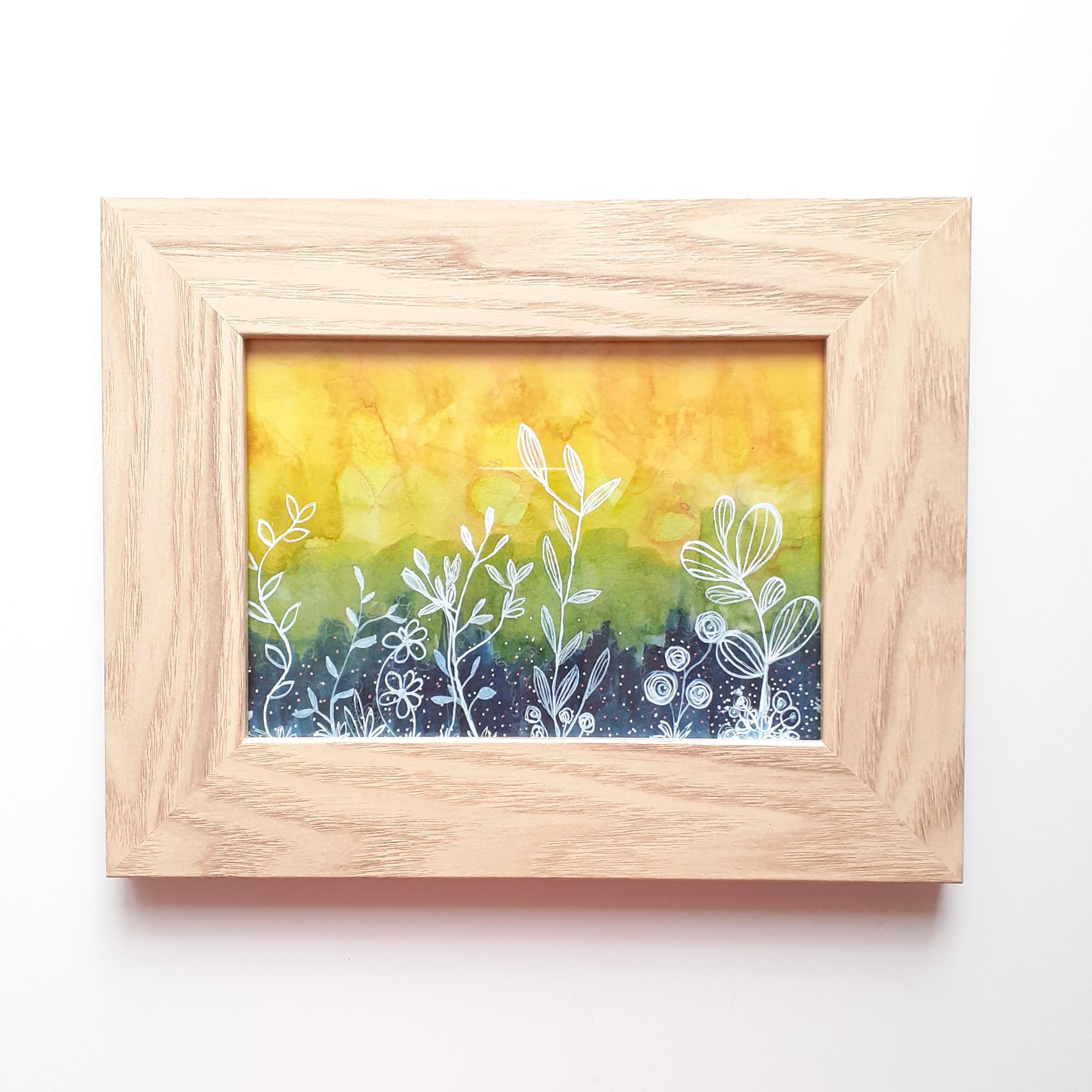 Original Mixed Media Artwork 'Sunset Garden' by Black UK Artist Stacey-Ann Cole