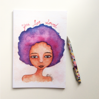 NOTEBOOK - 'You Are Loved' | Black Women Notebook | Watercolour