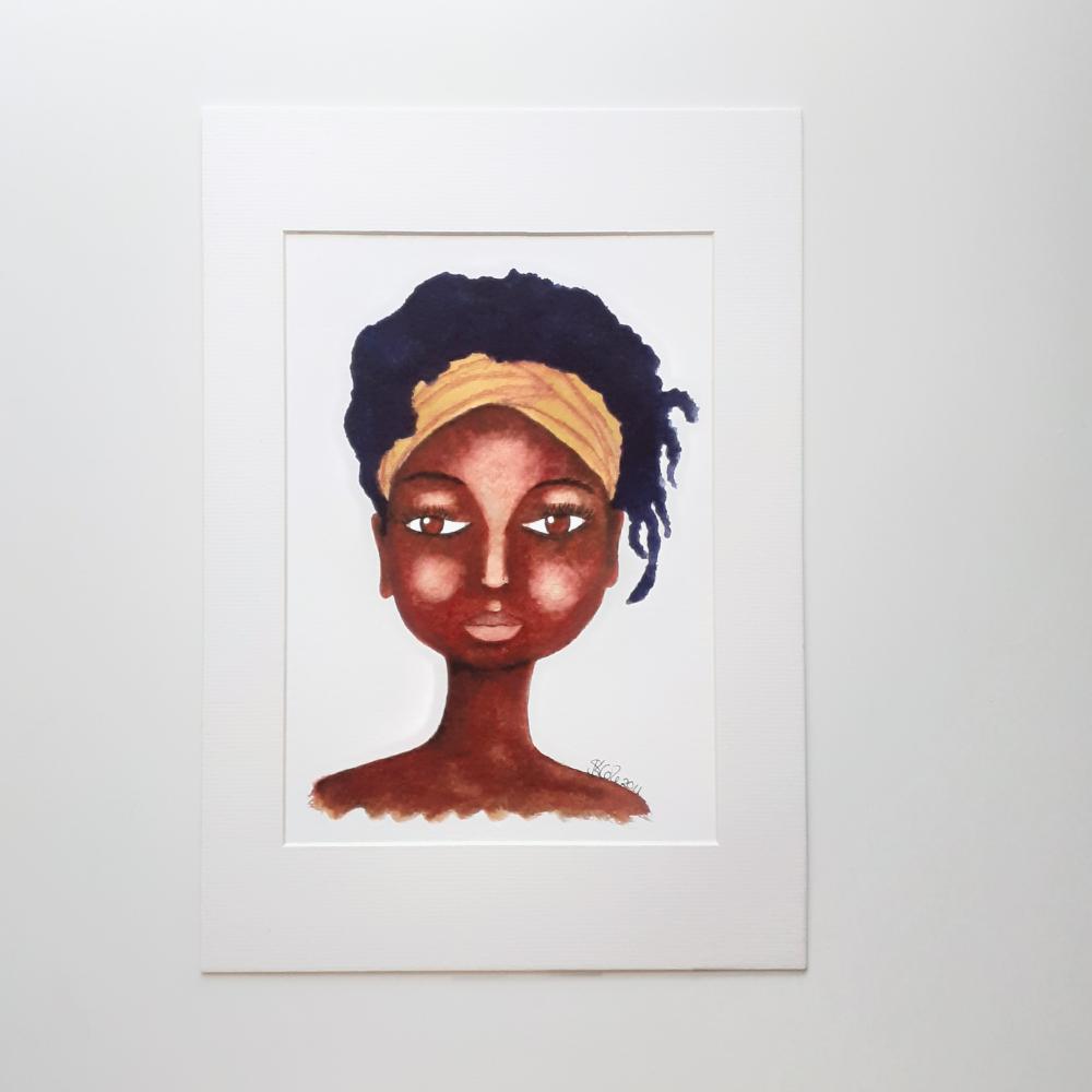 "BLACK WOMEN ARTWORK PRINT 'So Natural' | 7"" x 9"" | Mounted | Unframed"