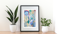 Original Watercolour Abstract Painting 'New Life' approx. 8.3