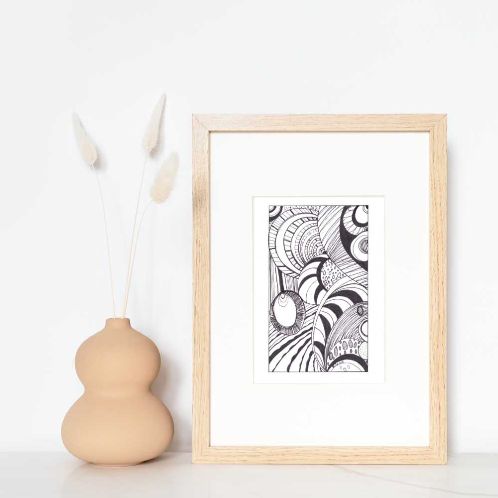 """Original Ink Abstract Drawing - 'Pattern Trance' - Approx. 6"""" x 4"""" (Unframed)"""