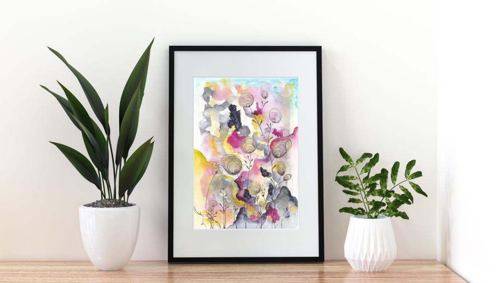 Original Semi-Abstract Watercolour Artwork - 'Enchanted Garden' (Unframed)