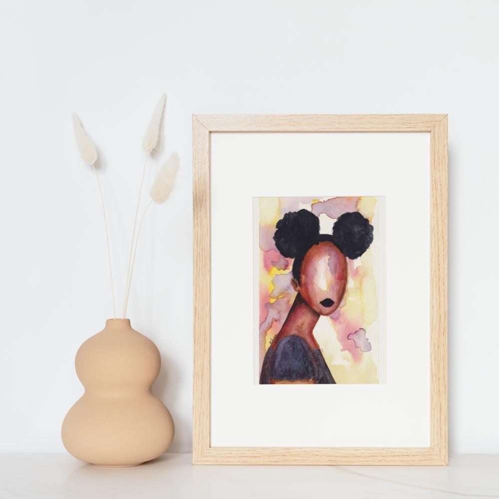 "Original Black Art Painting | Figurative Art 5.375"" x 8.5"" 'Self Love' by Stacey-Ann Cole"