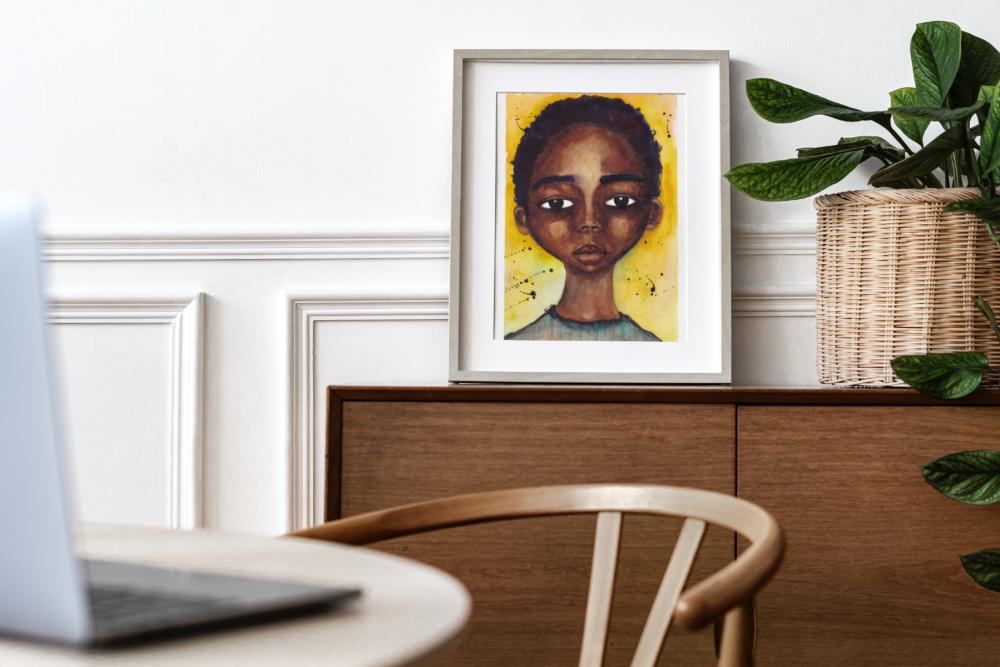 "Original Watercolour approx. 7"" x 10"" | Black Art Portrait Painting - 'Lingering Innocence' (Unframed)"