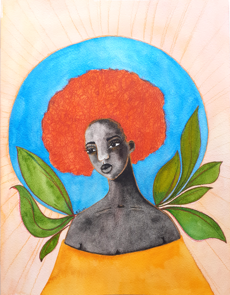 "Original Black Art Figurative Painting 9"" x 12"" - 'Sun Goddess' (Unframed)"