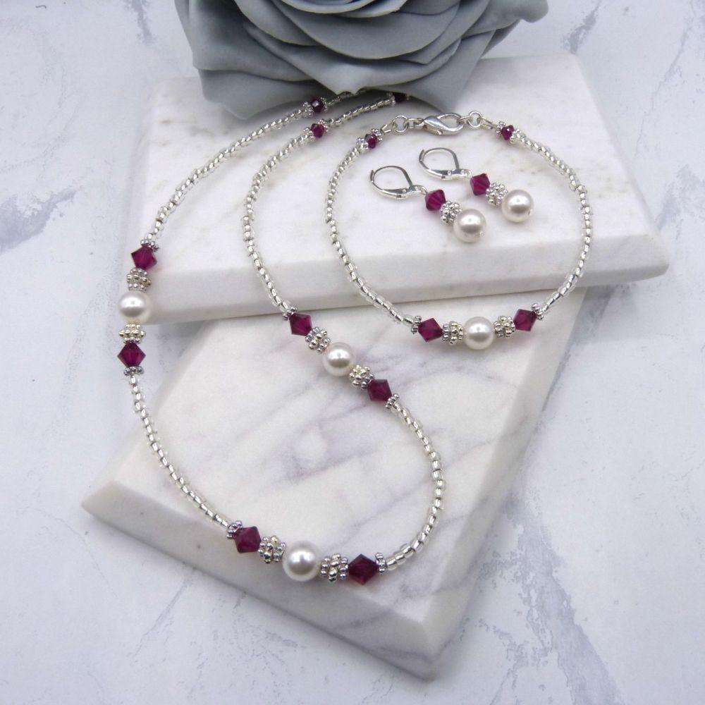 Nicole Crystal & Pearl Bridesmaid 3 Piece Jewellery Set
