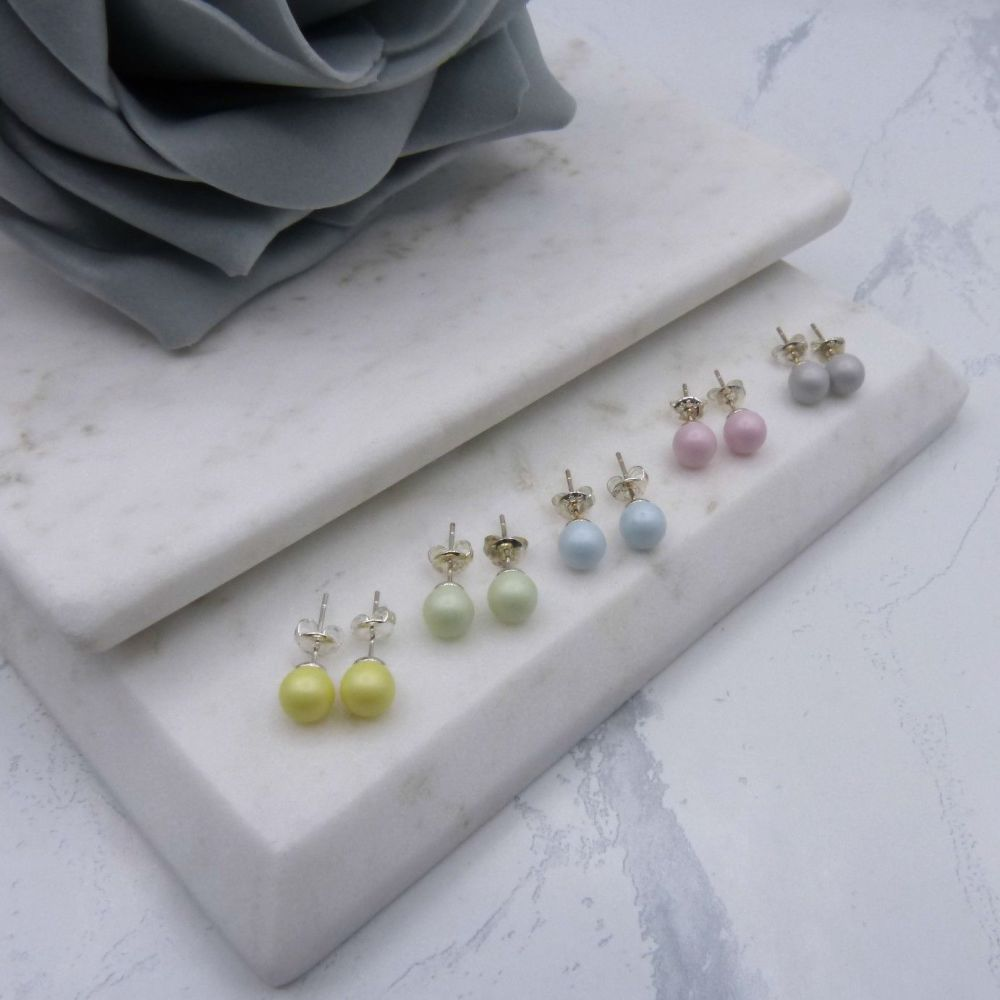 Jodie Round Pearl Stud Earrings