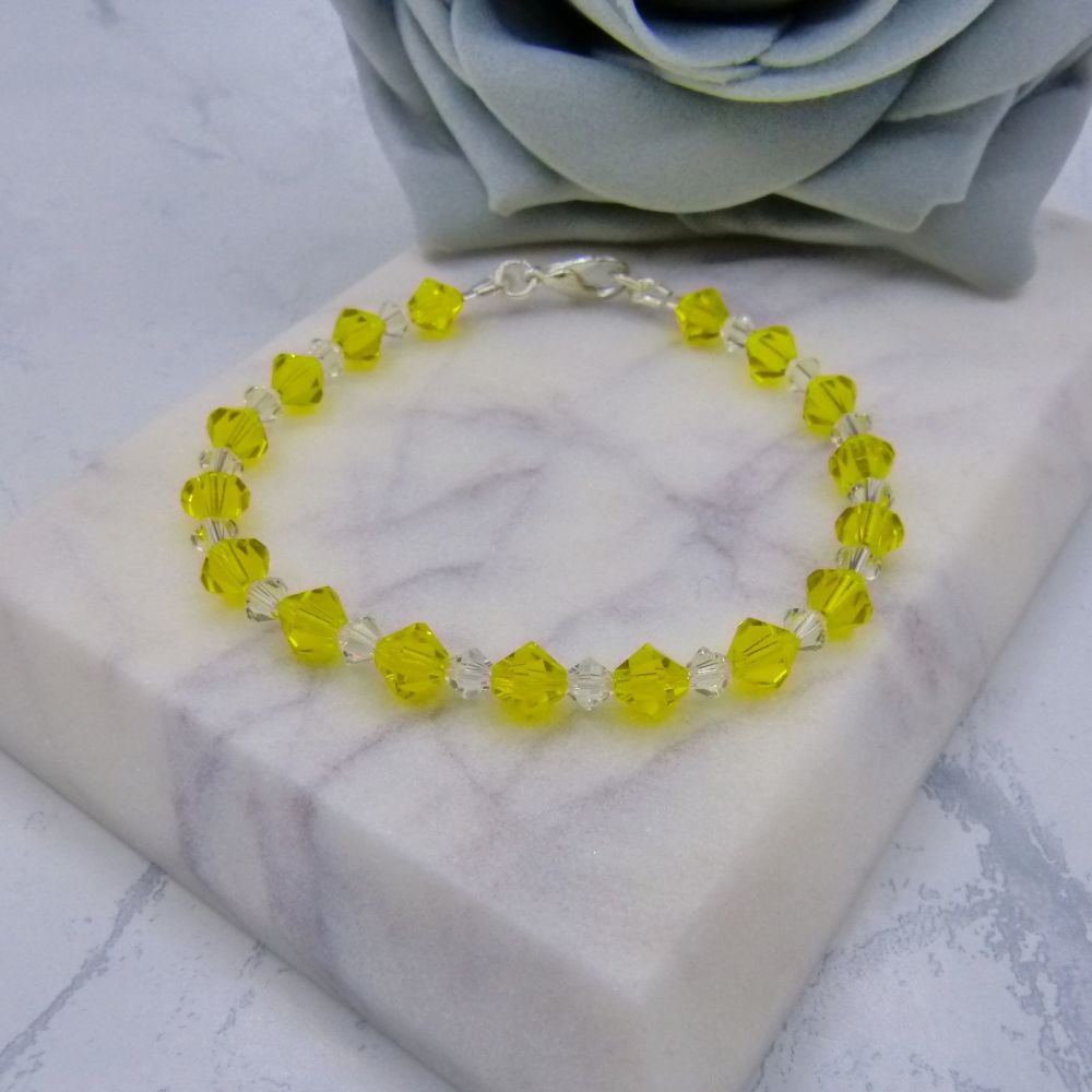Joyce Yellow & Clear Crystal Bridesmaid Bracelet