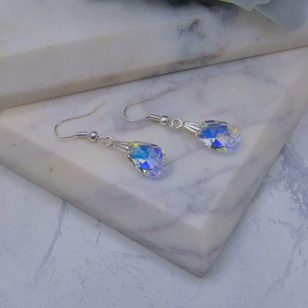 Faith Crystal Pear Drop Bridal Earrings