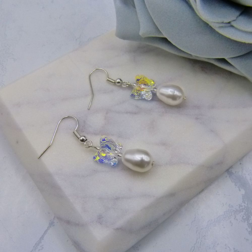 Serendipity Crystal Butterfly & Pearl Pear Drop Wedding Earrings