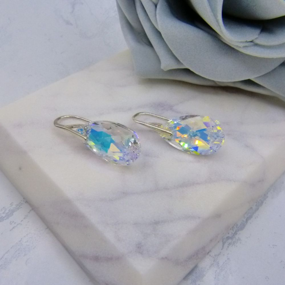 Fantasia Sterling Silver Aurora Borealis Crystal Pear Drop Wedding Earrings