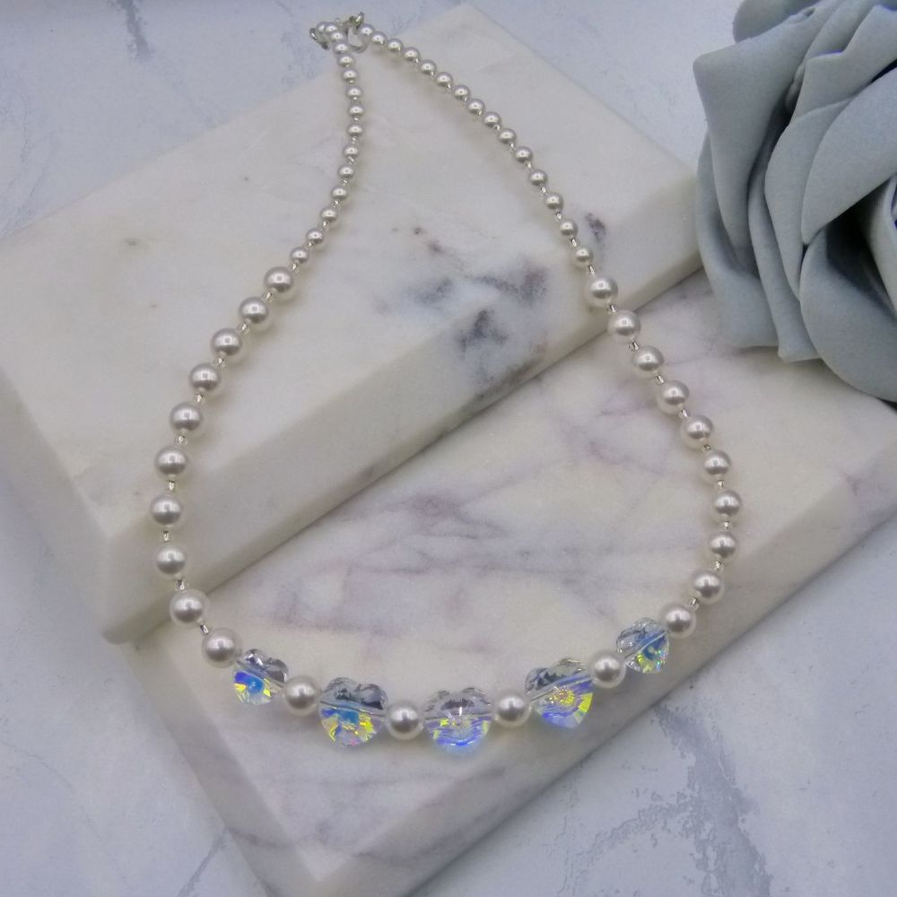 Valentine Crystal Heart & Pearl Wedding Necklace
