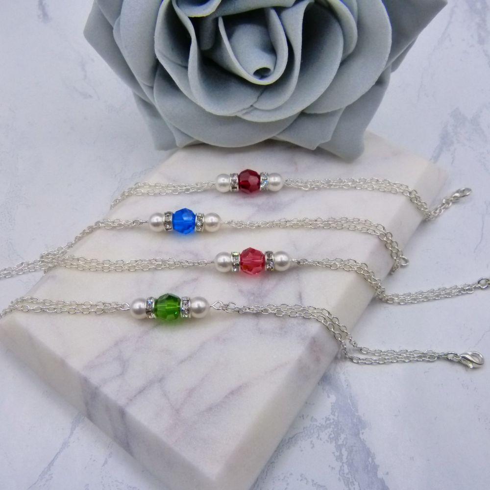 Gemma Crystal & Pearl Chain Bridesmaid Bracelet
