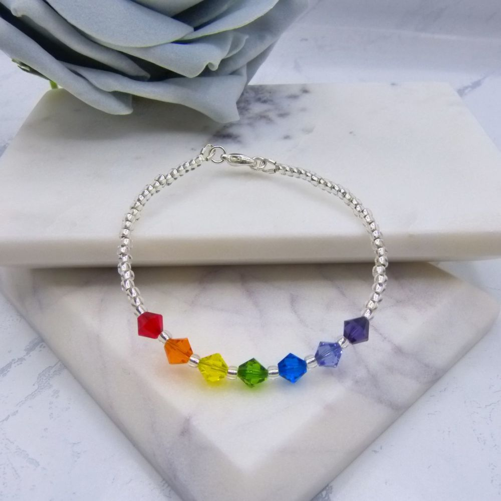 Kelly Rainbow Crystal Bracelet