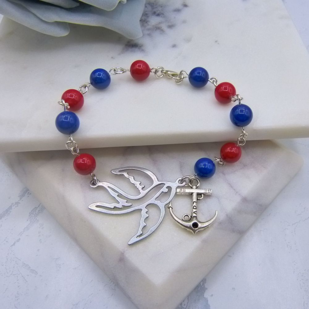 Leona Nautical Anchor Pearl Bracelet
