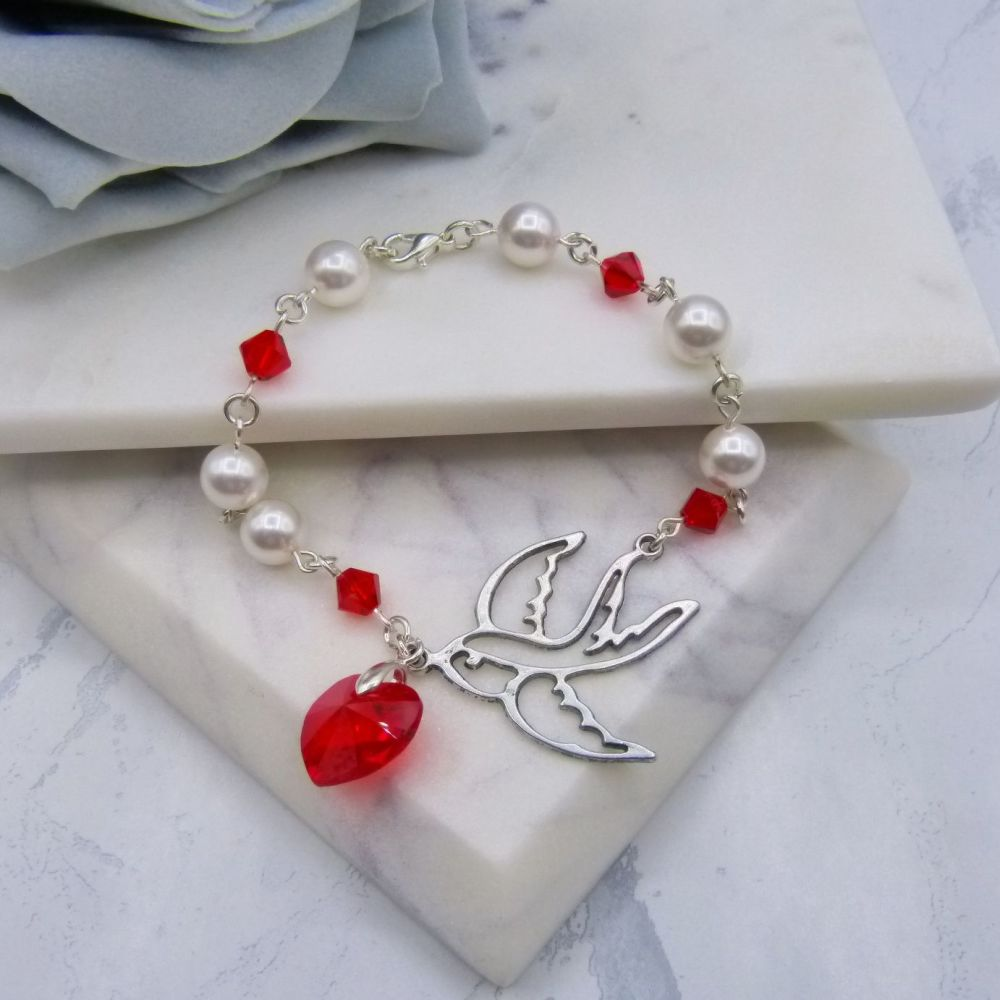 Scarlet Crystal Heart & Swallow Crystal & Pearl Wedding Bracelet