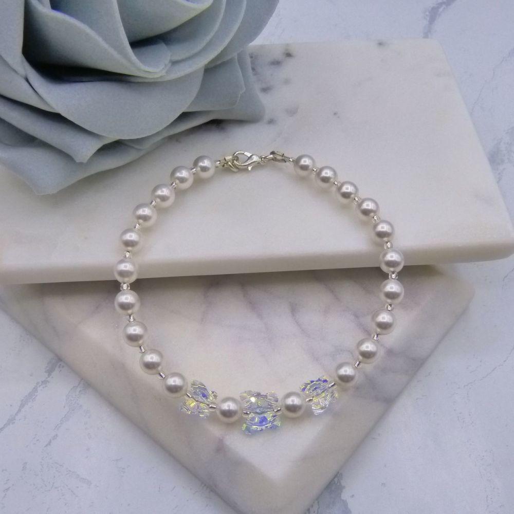 Serendipity Crystal Butterfly & Pearl Bridal Bracelet