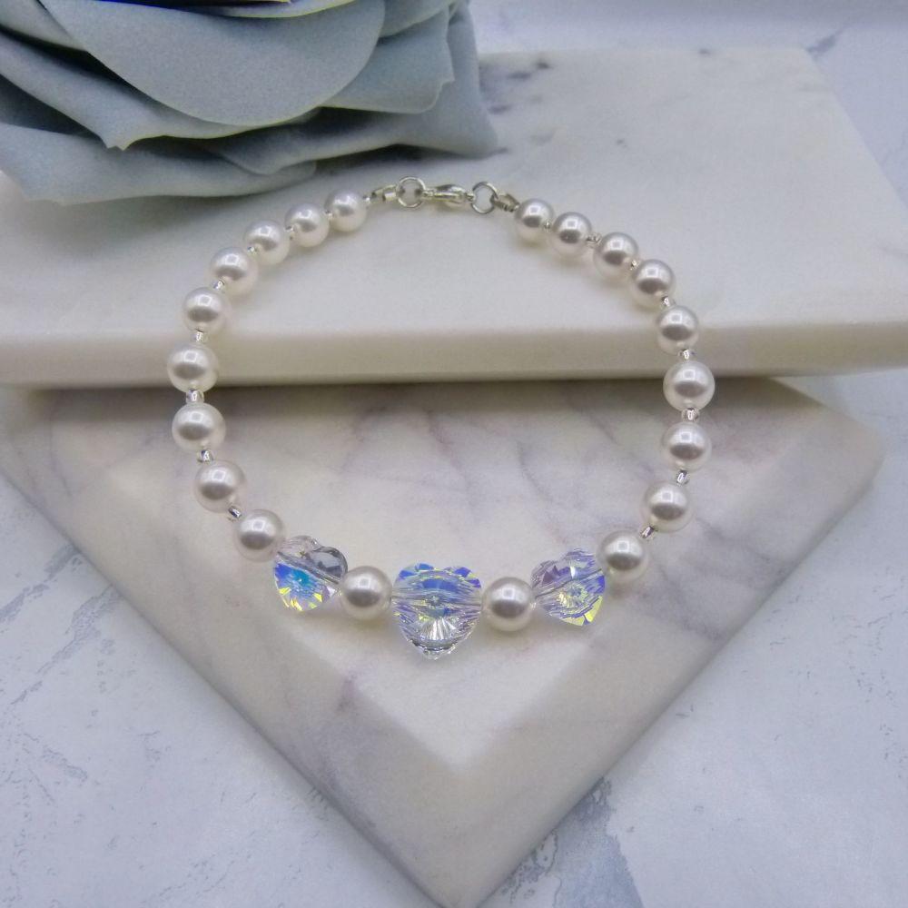 Valentine Crystal Heart & Pearl Bridal Bracelet
