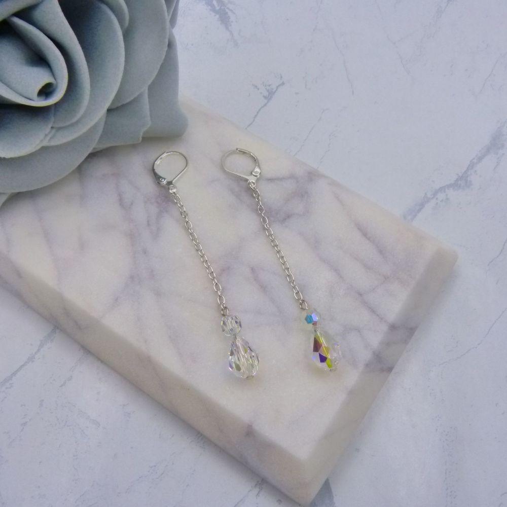 Lisa Long Chain Drop Crystal Bridal Earrings