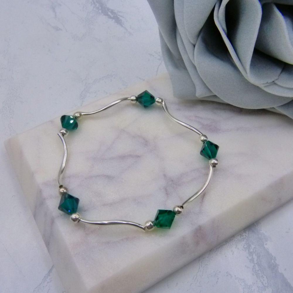 Sabrina Stretch Crystal Wave Bridesmaid Bracelet