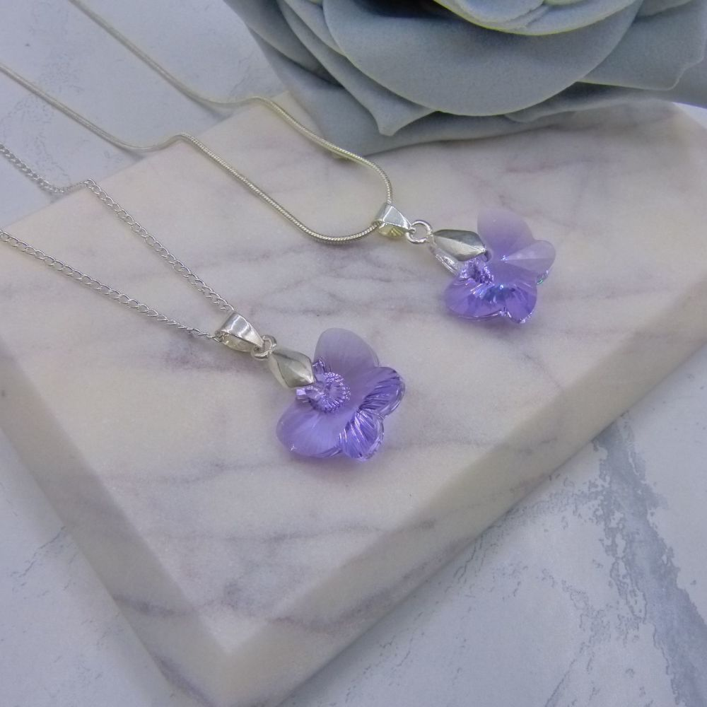 Set of 2 Violet (Lilac) Crystal Butterfly Bridesmaid Necklaces
