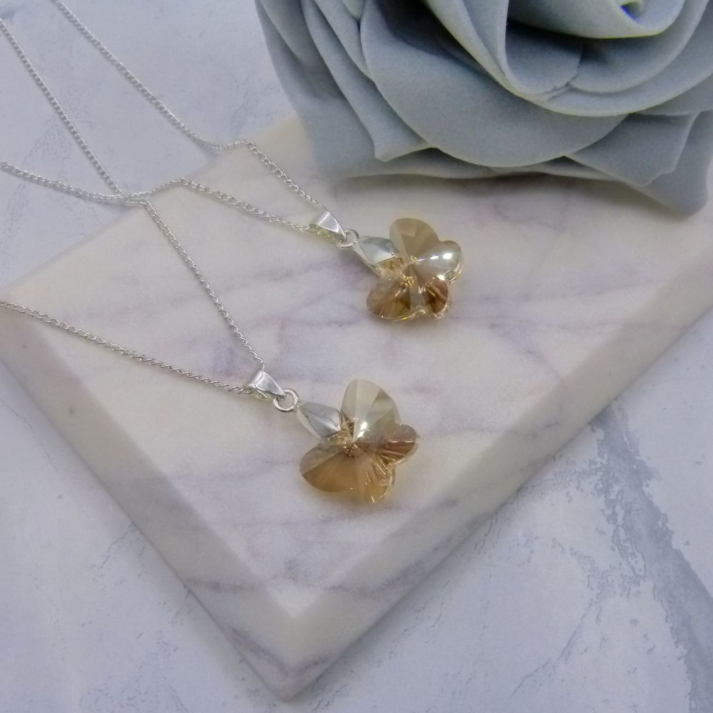 Set of 2 Golden Crystal Butterfly Necklaces
