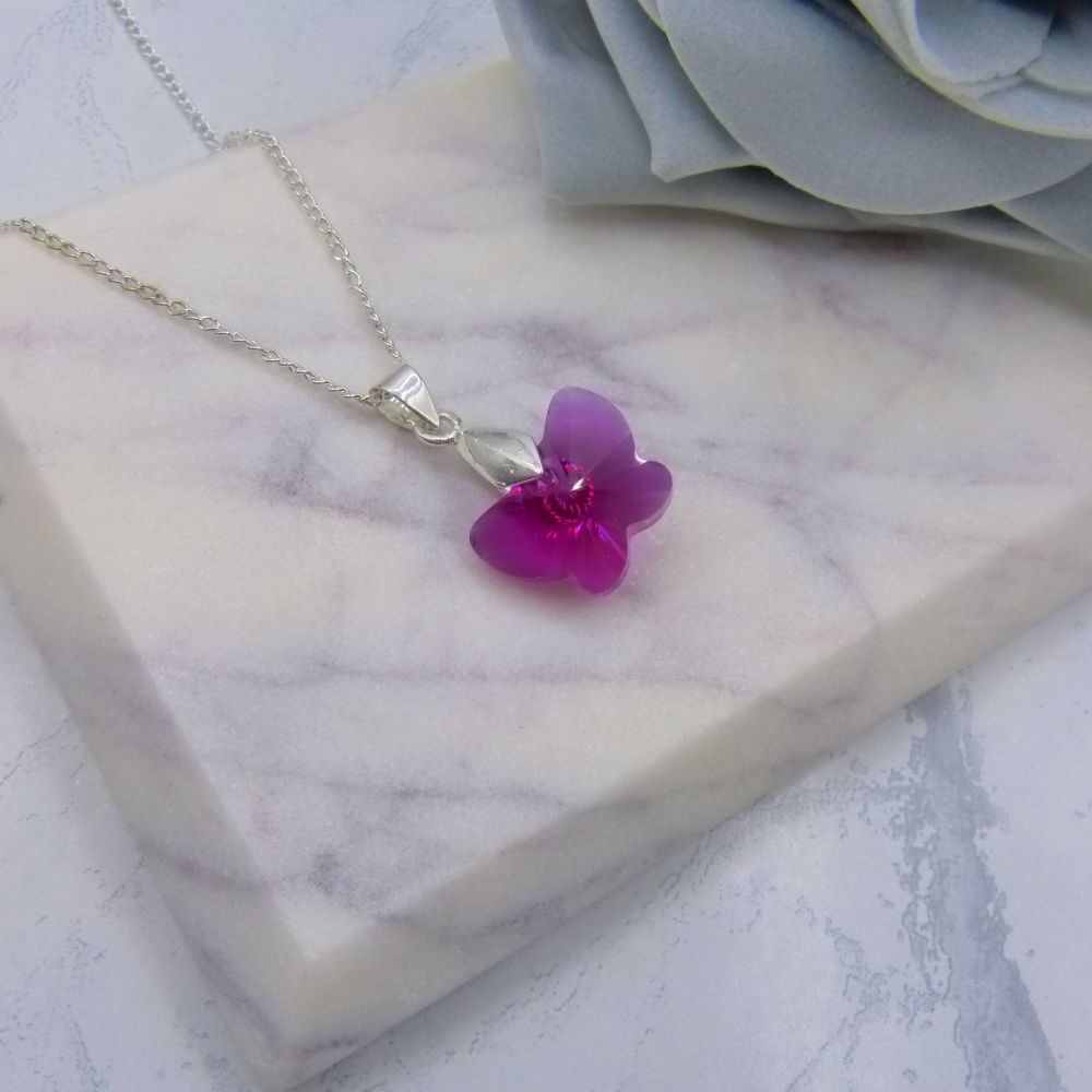 Fuchsia Pink Crystal Butterfly Bridesmaid Necklace