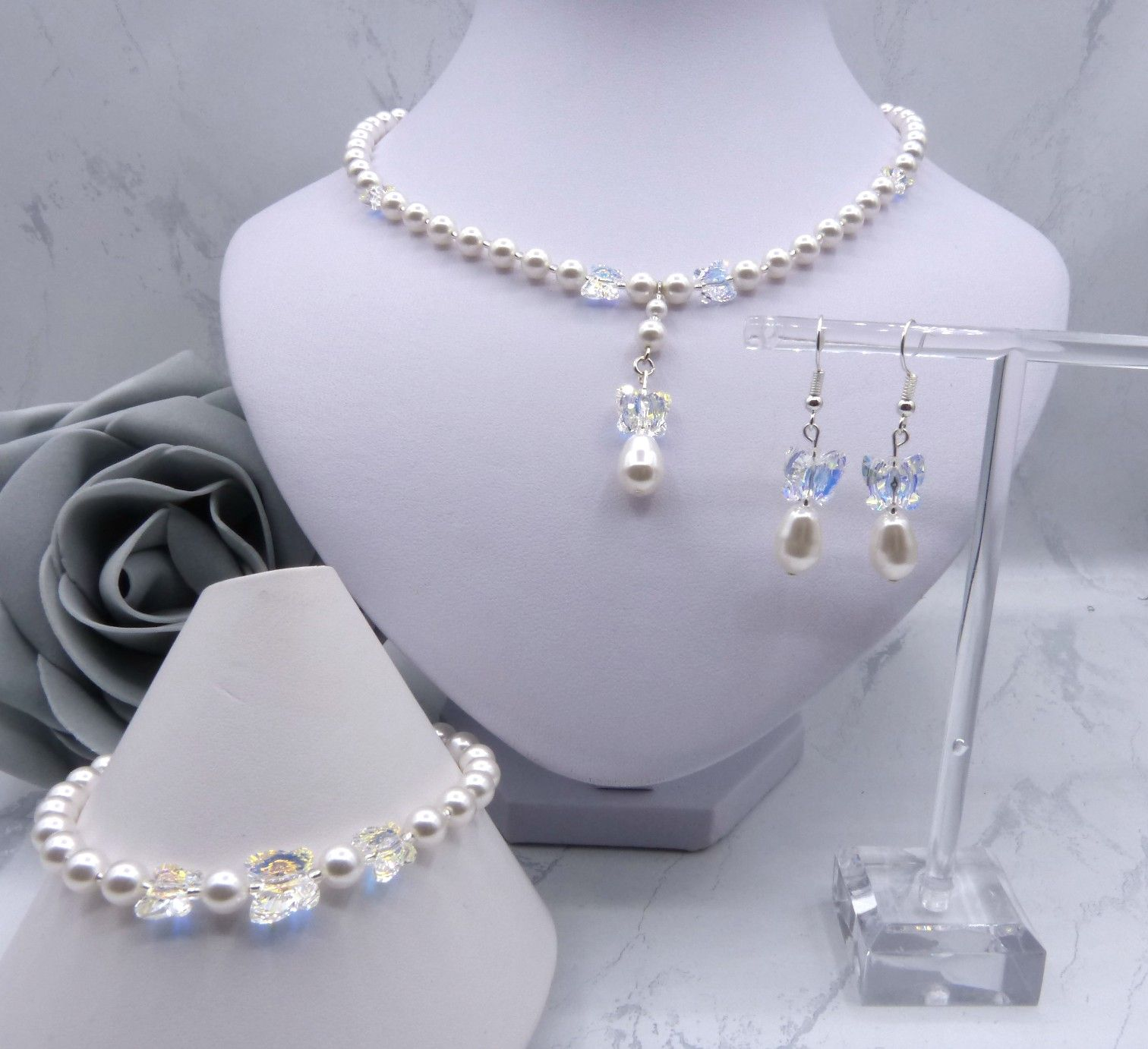 Swarovski Crystal Butterfly & Pearl Bridal Jewellery Set