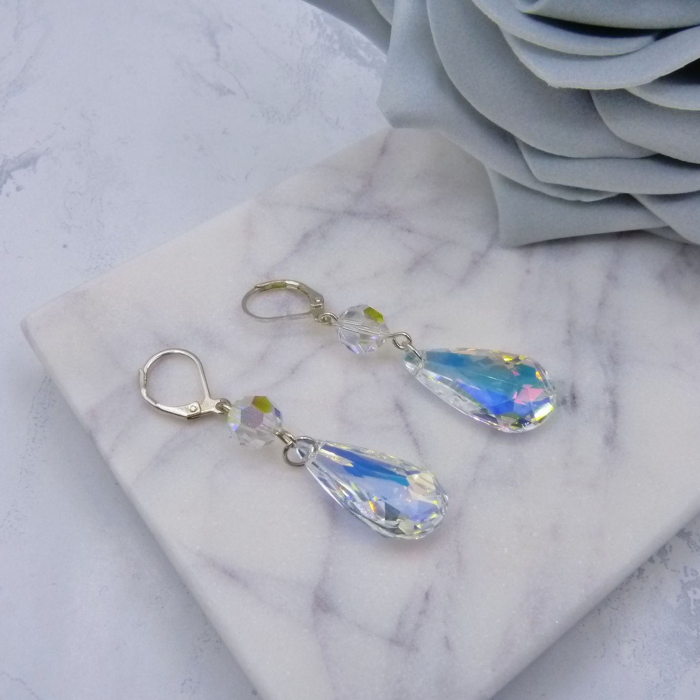 Swarovski Crystal Teardrop wedding bridal earrings