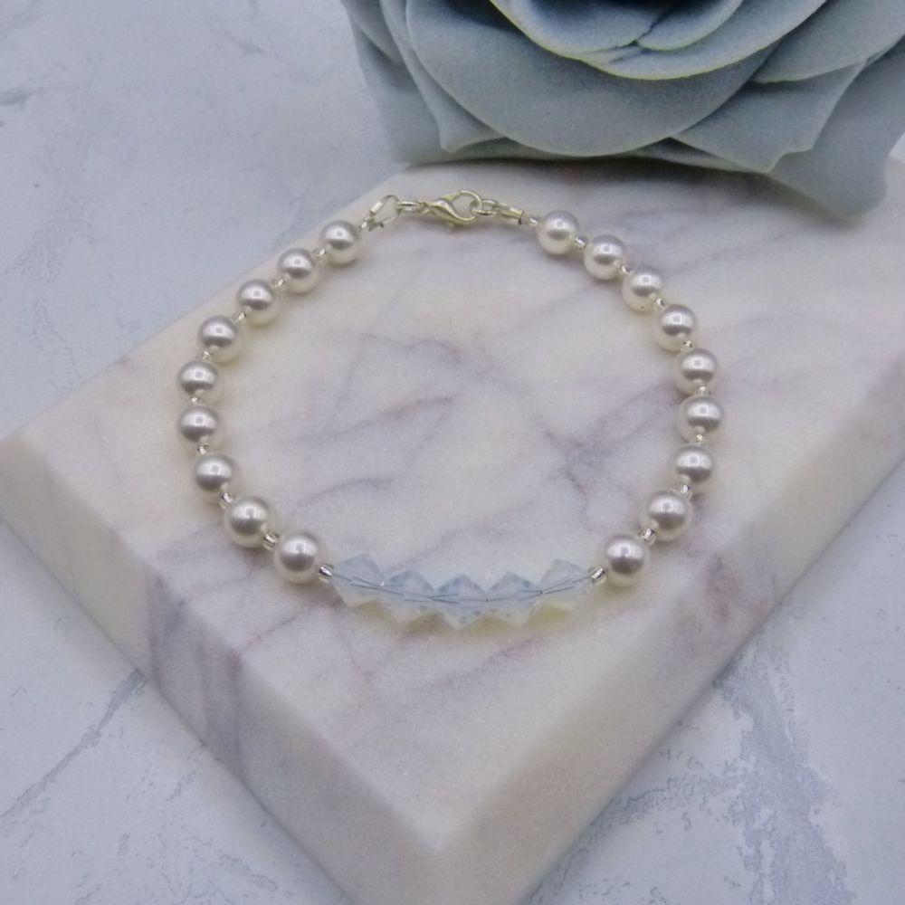 Godiva Crystal & Pearl Wedding Bracelet