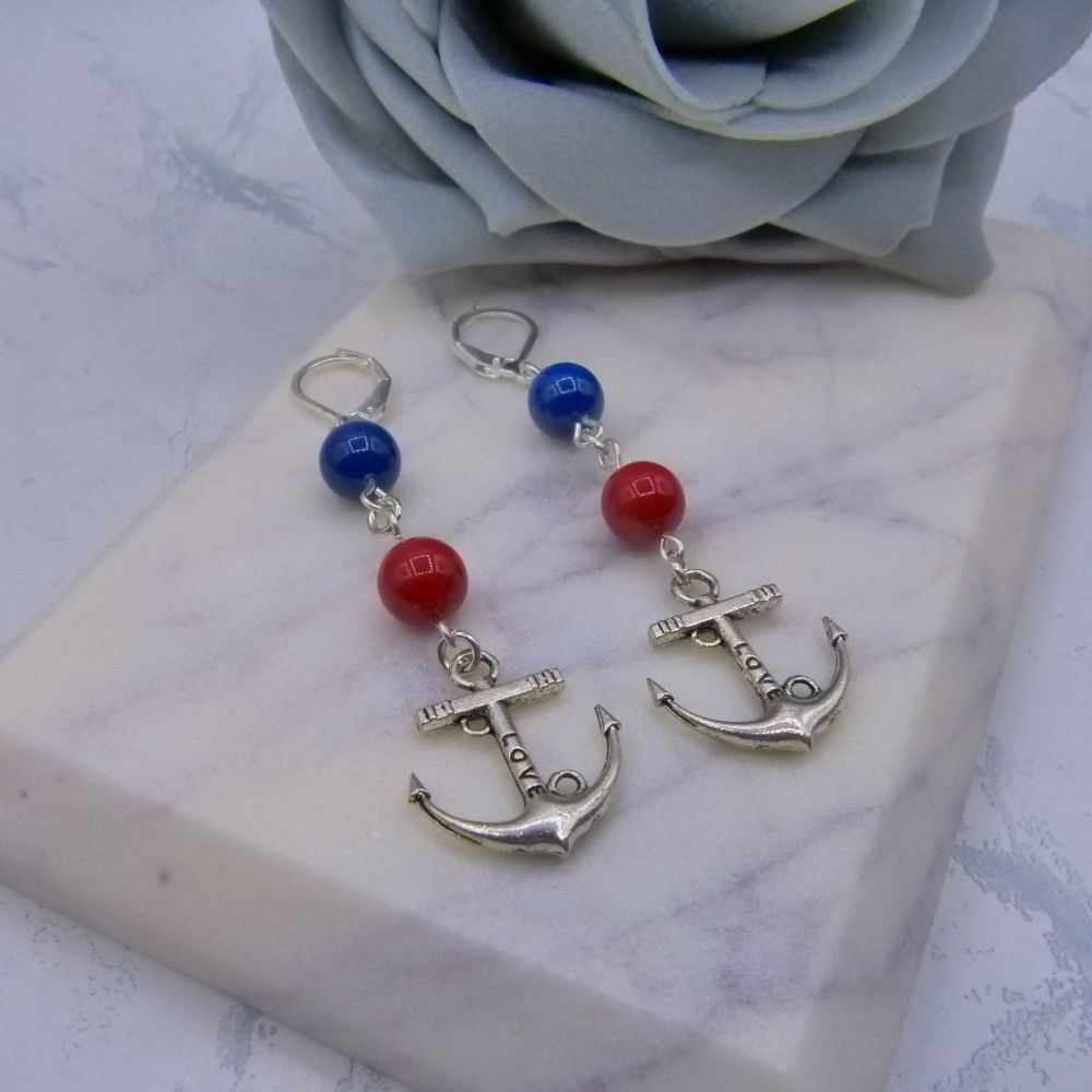 Leona Nautical Anchor Pearl Drop Earrings