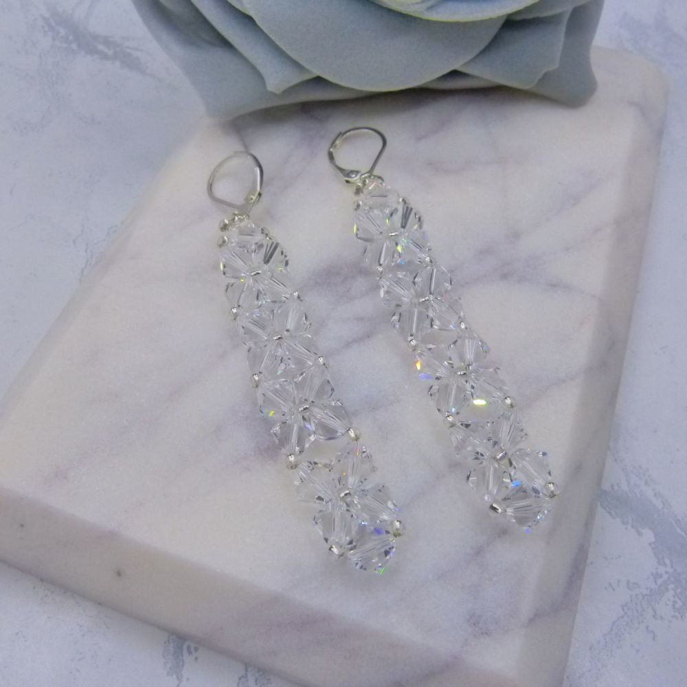 Monroe Crystal Weave Drop Wedding Earrings