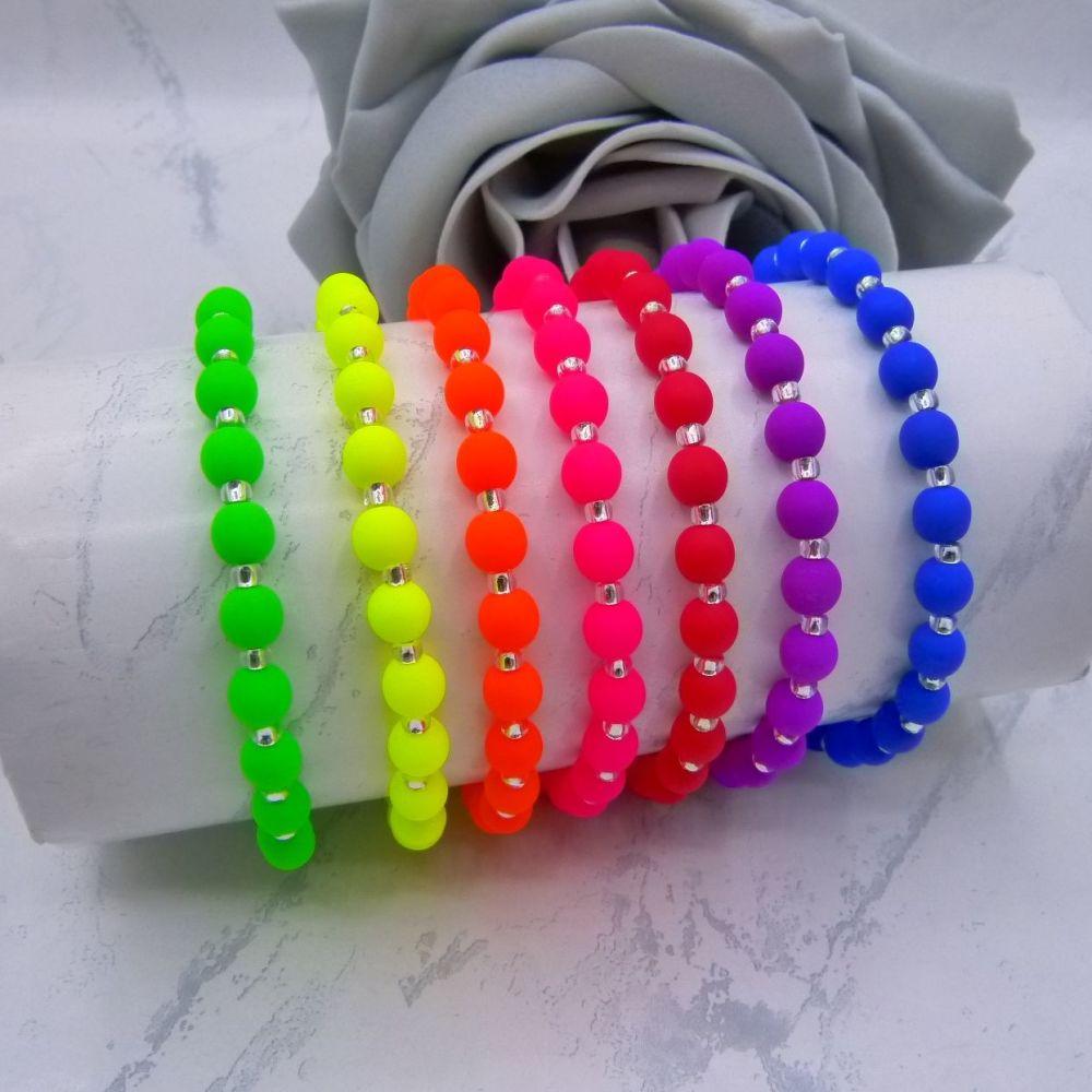 Neon 6mm Beaded Bracelets
