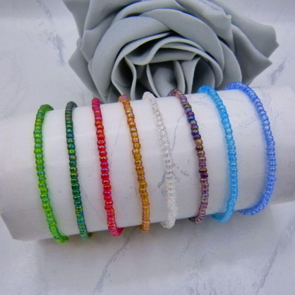 Rainbow AB Seed Bead Bracelets