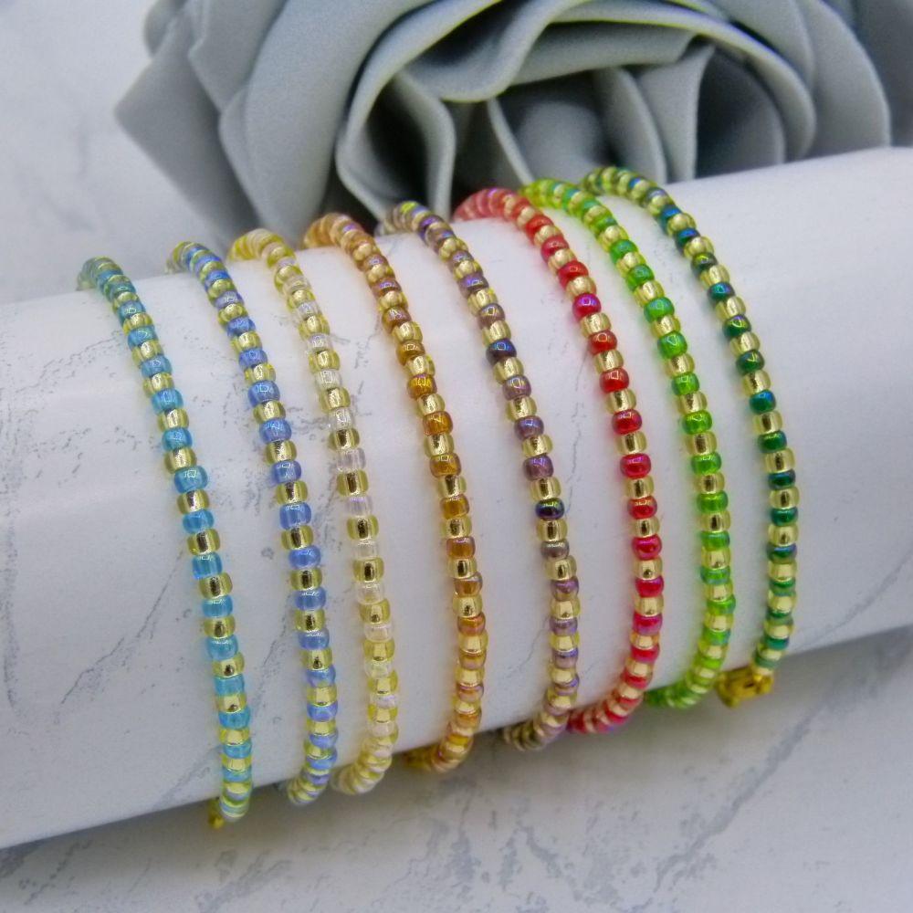 Rainbow AB Stripe Seed Bead Bracelets ( Gold)
