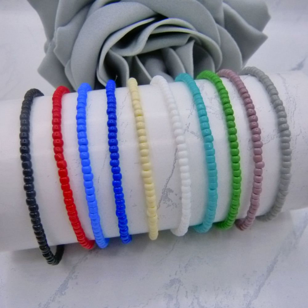 Opaque Seed Bead Bracelets (Gold or Silver)