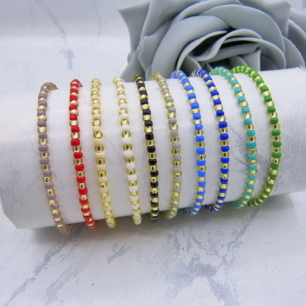 Opaque Stripe Seed Bead Bracelets (Gold)