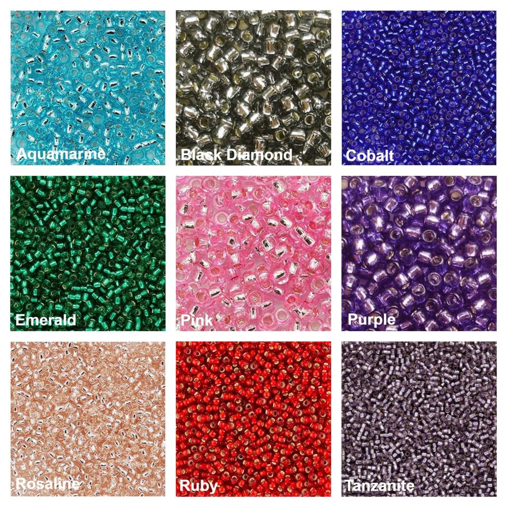 SILVER LINED Seed Bead Colours