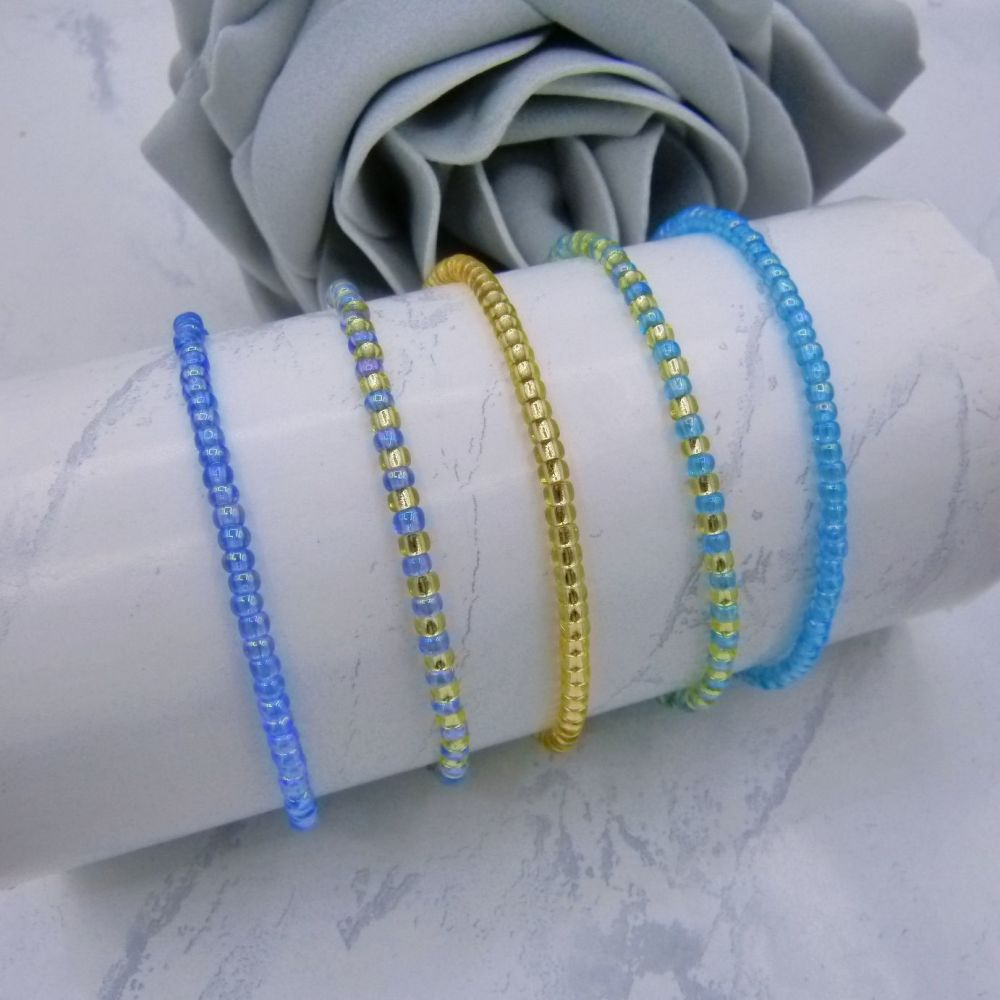 Blue Seed Bead Stacking Bracelet Set (Gold) X 5